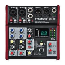 Tarjeta de sonido del procesador Dsp de 24 bits con 16 efectos digitales de 4 canales UM 66 Freeboss (Eco de retardo de placa de sala de estar) mezclador de Audio de grabación