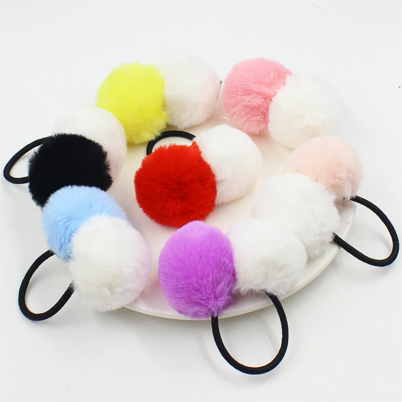 Aikelina Artificial Rabbit Fur Double Ball Elastic Hair Rope Rings Ties Bands Holders Girls Hairband Headband Hair Accessories metting joura vintage bohemian ethnic tribal flower print stone handmade elastic headband hair band design hair accessories