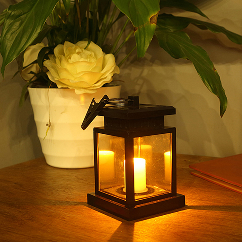 Waterproof Led Solar Garden Light Outdoor Flickering Flameless Candle Hanging Lantern Smokeless For Yard Lawn Patio