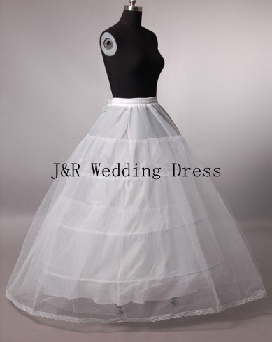 Free shipping high quality 3 Hoop 2 layers white bridal petticoat crinoline with lace edge