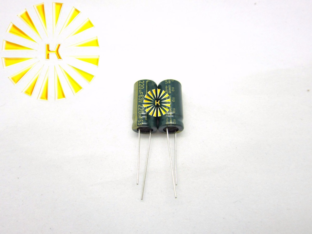 200pcs X 100% New <font><b>220UF</b></font> <font><b>63V</b></font> 10X20 LOW ESR Aluminum Electrolytic Capacitor image