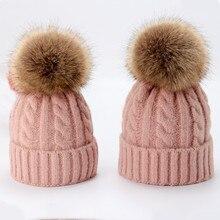 oZyc Cute Winter Mom Women Baby Kids Crochet Knitted Hat Caps Children Girl Boy Wool Fur Bobble Ball Pompom Beanies Hats