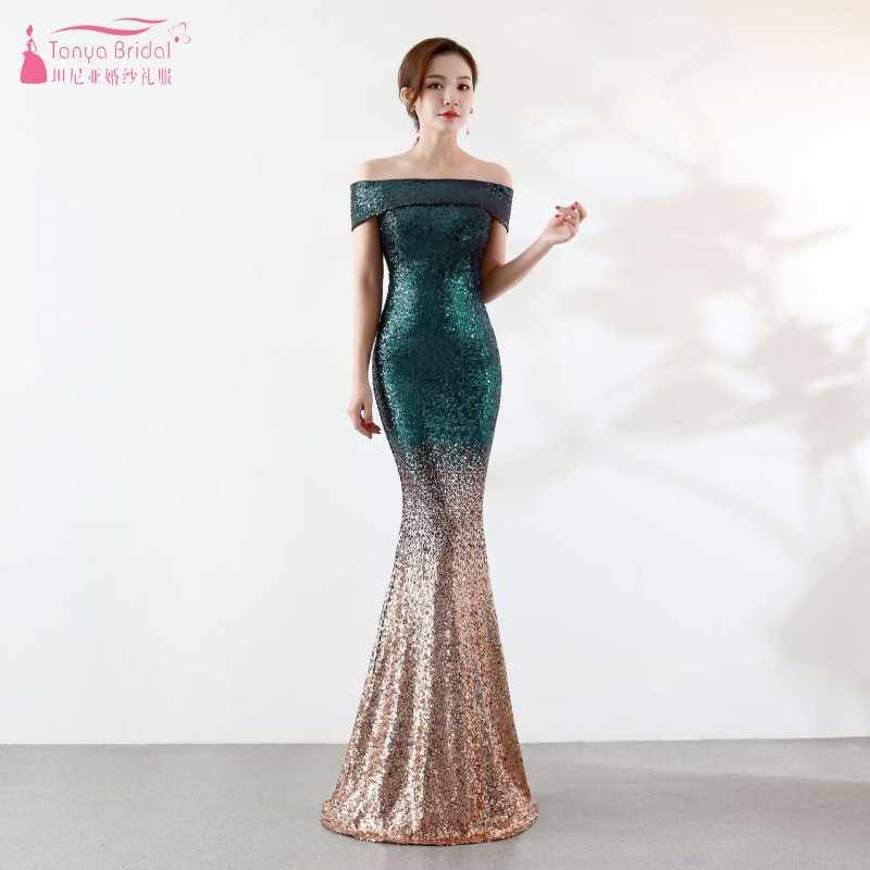 4665dbb4487 Boat Neck Off The Shoulder Long Sequin Bridesmaid Dresses New 2019 Rose  Gold Mermaid Wedding Guest