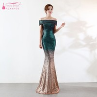 Boat Neck Off The Shoulder Long Sequin Bridesmaid Dresses New 2019 Rose Gold Mermaid Wedding Guest Prom Dress Women Gown JQ69