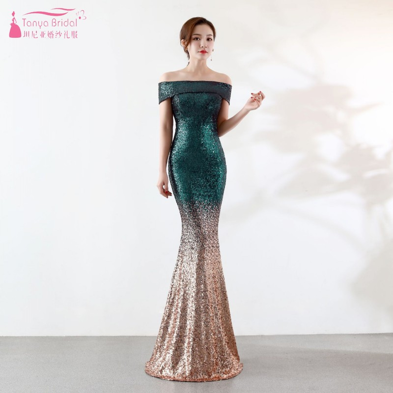 a1d83cd7ffc Boat Neck Off The Shoulder Long Sequin Bridesmaid Dresses New 2019 Rose Gold  Mermaid Wedding Guest