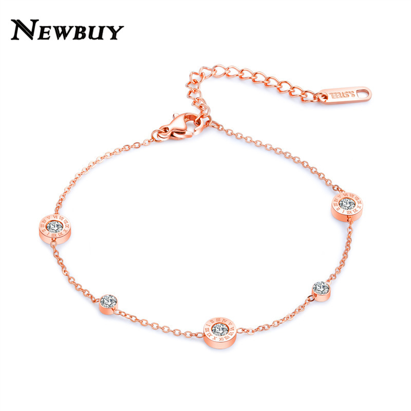 NEWBUY High Quality Stainless Steel Classic Roman numerals Design Women Anklets Rose Gold Color Ankle Bracelet bijoux coquillage
