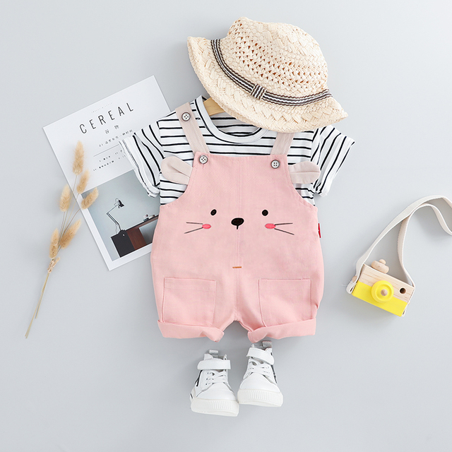 HYLKIDHUOSE 2019 Summer Baby Girls Clothing Sets Infant Clothes Suits Stripe T Shirt Strap Shorts Kids Children Vacation Costume 3