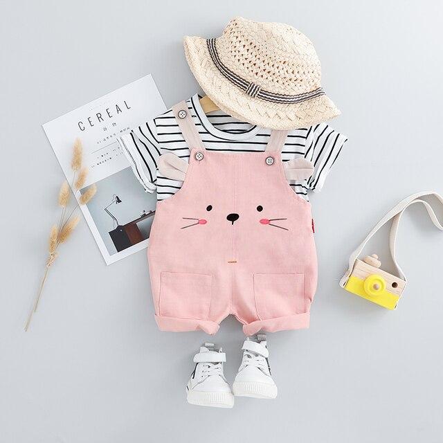 HYLKIDHUOSE 2019, conjuntos de ropa de verano para niñas, ropa para bebés, trajes, Camiseta de tirantes a rayas, pantalones cortos, disfraz de vacaciones para niños