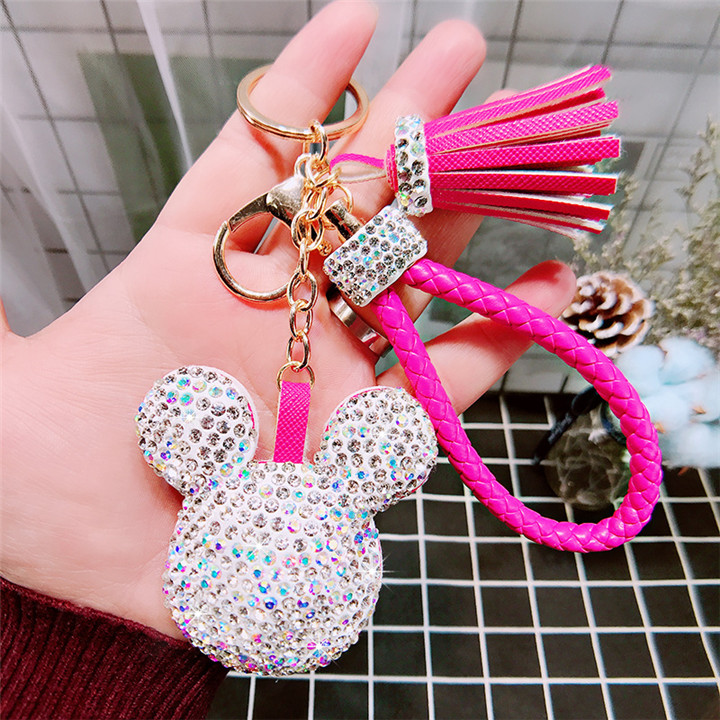 8 Creative Love Keychains Couple Bag Keyring Tassel Pendant Doll Leather Keychain For Women Fashion Jewelry Crystal Heart Keychains