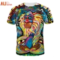 Alisister harajuku camiseta de los hombres/de las mujeres 3d clothing divertido pintura animal print t shirt trajes unisex de hip hop tee verano tops
