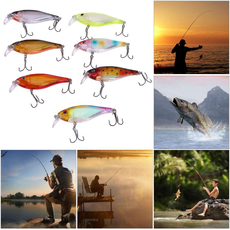 7pcs/Lot Fishing Lure Spinner Artificial Bait Wobbler Crankbait 9cm/13.5g Bright Tackle 3D Eyes With Treble Hooks Pesca Isca