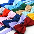 Nova moda cores sólidas casamento laços das mulheres dos homens poliéster Formal Cravat Bowties machos