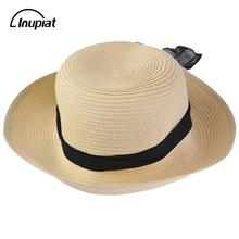 ФОТО sun hats for women 2018 summer fashion straw beach hat with ribbon tie two ways wearing caps for female casquette femme