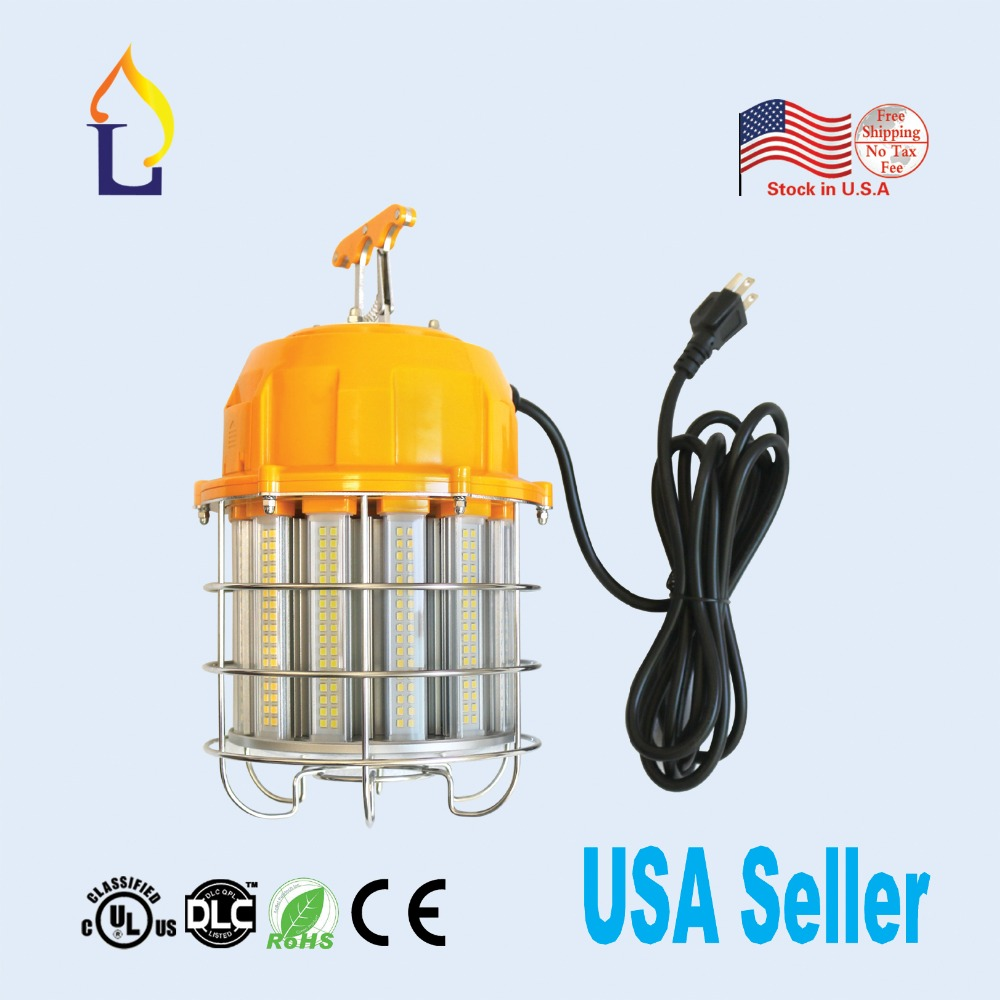 1 pack UL DLC listed waterproof IP65 led construction temporary working light portable lantern for outdoor 5years warranty quick install 75w warehouse pendant led lighting with dlc listed