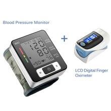 Digital de Muñeca Monitor de Presión Arterial Medidor de Presión Arterial Esfigmomanómetro Automático Portátil Y LCD Digital Dedo Oxímetro