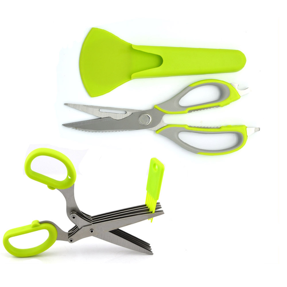 Multifunction kitchen scissors for fish chicken with magnetic cover and 5 Layers Scissors Cut Herb Spices