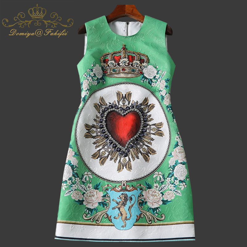 EXCELLENT QUALITY Paris Fashion 2018 BAROCCO Designer Dress Women Rhinestone Diamonds Embellished Crown Print Dress Family Dress