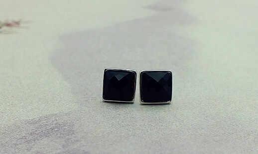 49% off Punk สแควร์ต่างหูสตั๊ดสีดำสำหรับผู้ชายและผู้หญิงสีเงินเครื่องประดับคริสตัลต่างหูของขวัญต่างหู Ulove JS1012