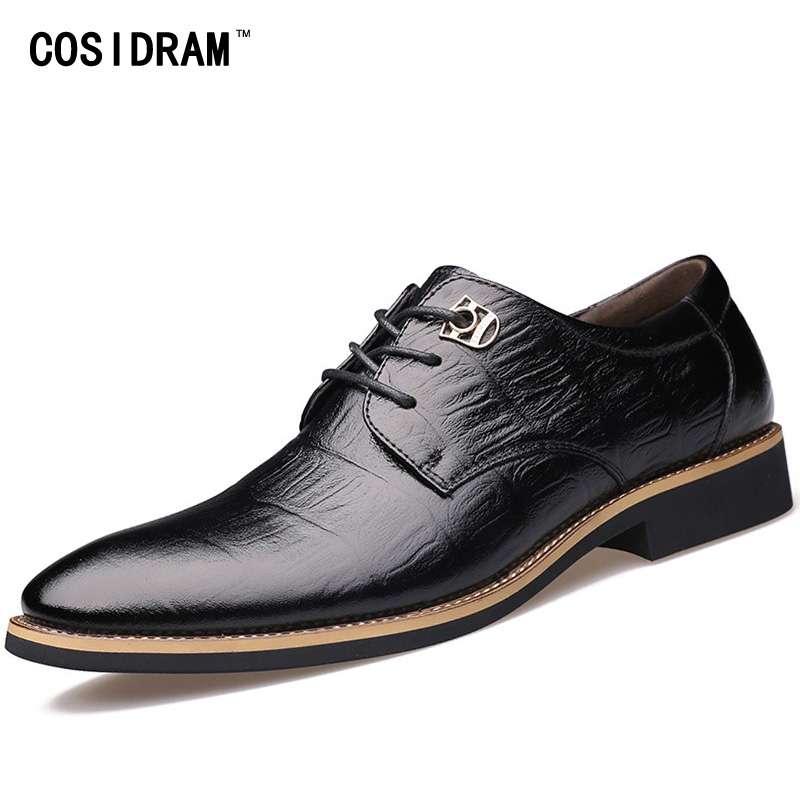 COSIDRAM Genuine Leather Men Formal Shoes Luxury Dress Business Shoes Pointed Toe Spring Men Oxfords Male Black Brown RME-338
