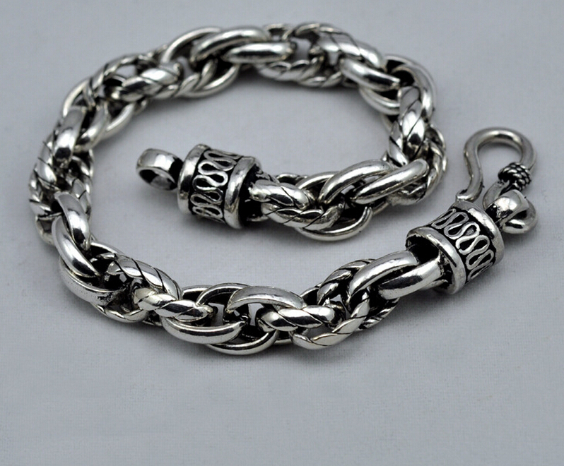 925 sterling silver Chain & Link bracelets vintage jewelry thai antique saint silver jewelry bracelet hand chain