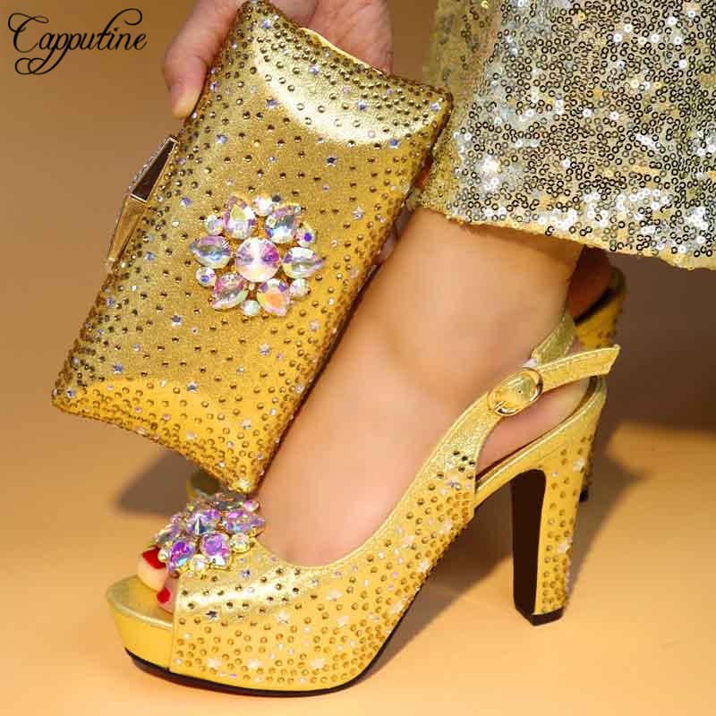 Capputine New Arrival Italian Design Rhinestone Shoes With Bag Set African High Heels Woman Shoes And Purse Set For Party TX306 capputine new arrival woman shoes and bag set nigerian design high heels shoes and bag sets for party free shipping bch 40