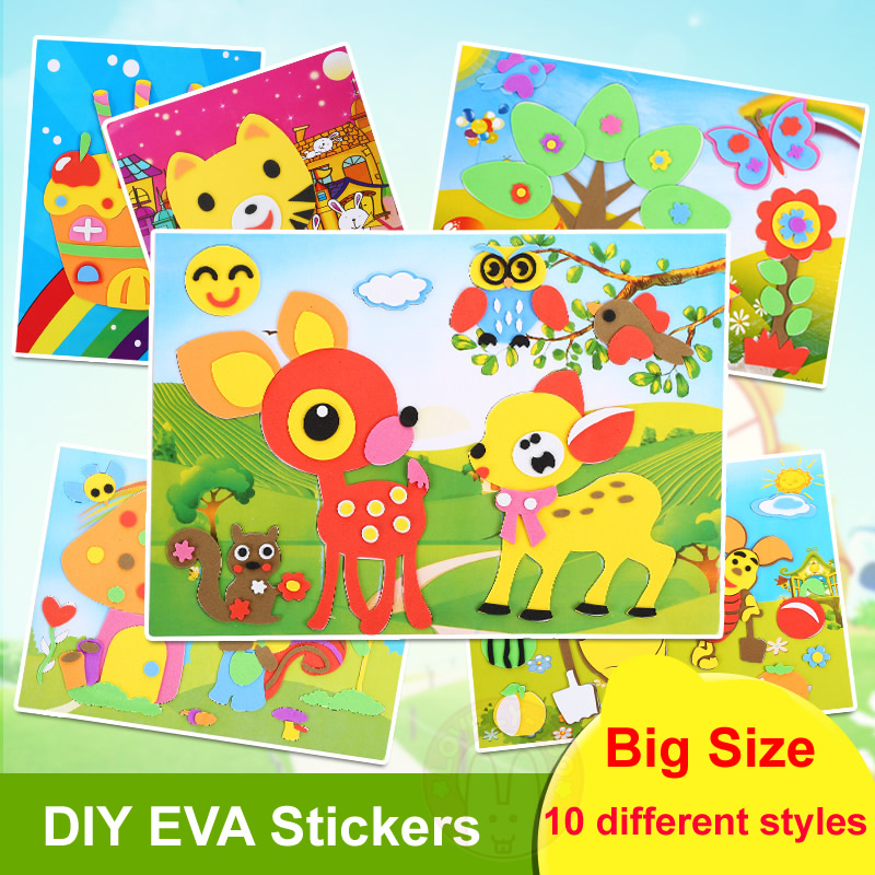 10PCS / Lot EVA Cartea de colorat Pictura Scratch Paper Sticker - Învățare și educație