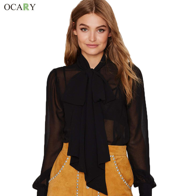 Elegant Women Chiffon Blouse Casual Spring Summer Blouse Hollow Out Sexy Outfit Bow Neck Top Blusas Chemisier Femme  Size XL