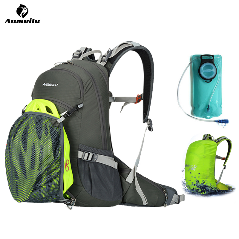 ANMEILU 20L Camping Backpack 2L Water Bag Waterproof Hiking Climbing Cycling Backpack Outdoor Sport Bag Hydration Backpack anmeilu 18l cycling backpack waterproof sport bag mtb cycling hydration water bags outdoor climbing hiking rucksack bicycle bag