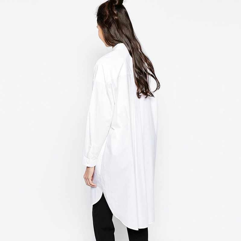 8a071c3bce ... 2019 blanco camisa vestido de las mujeres de estilo del novio de la manga  larga vestidos ...