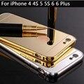 Para iphone 6 espelho bumper de alumínio metal frame fundas espelho acrílico tampa traseira case para iphone 6 6 plus 5s 7 7 além de espelho case
