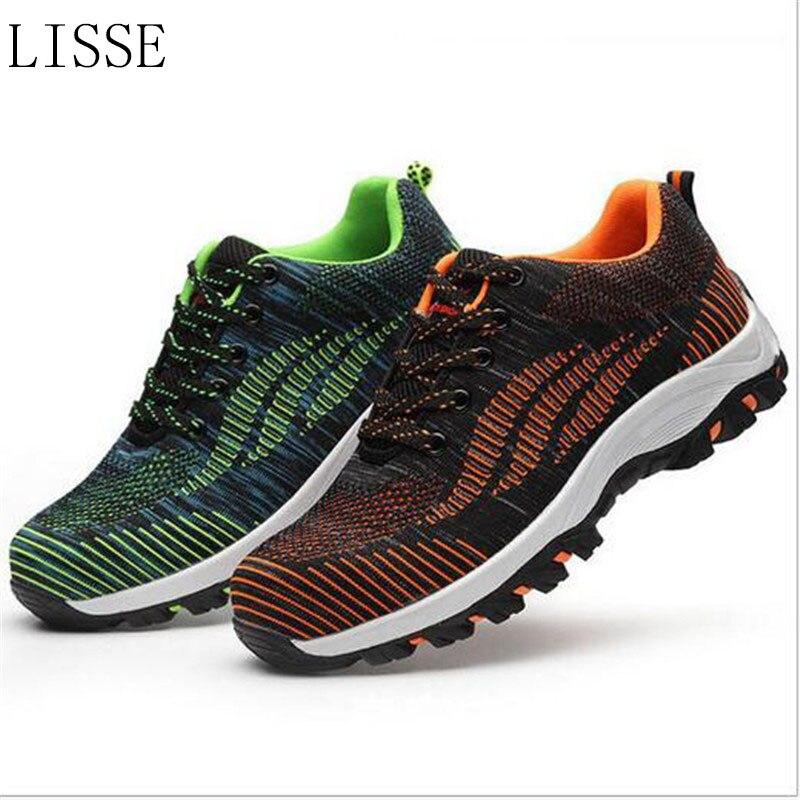 LISSE сетчатые мужские ботинки Рабочая обувь стальной носок колпачок для анти-разбивания проколов прочный дышащий защитный Footw