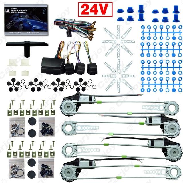 Carro/Caminhão DC24V Electronice kits de Janela de Poder Universal 4 Portas Com 8 pcs Swithces & Harness # CA2978