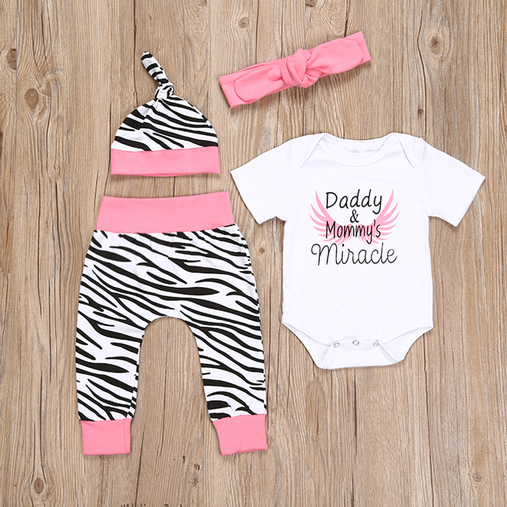 4pcs/set Baby Girls Boy Letter Print Short Sleeve Bodysuit Tops+Zebra Pants+Headband+Cap Toddler Outfit Newborn Kids Clothes Set