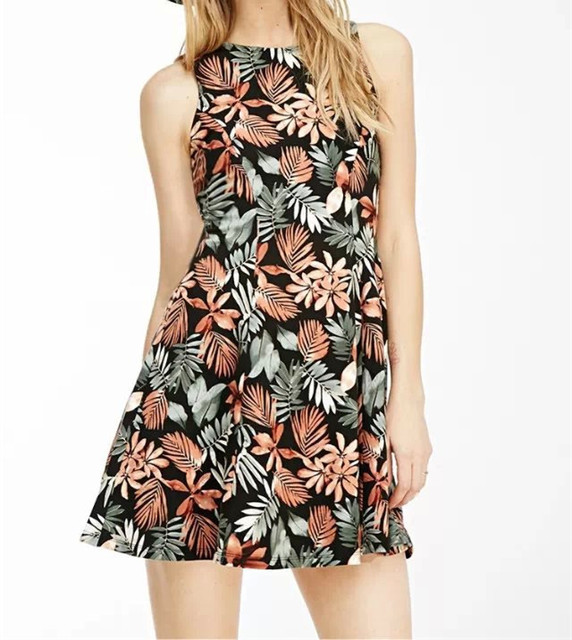high fashion designer brand 2015 new woman summer printed flower dress vestido  mini gown girl vintage style dresses shop online 7880ab92faf