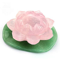 Hand Carved Natural Rose Crystal Quartz Lotus Crystal Sphere Stand Reiki Decor Natural crystal powder lotus base Love Lucky