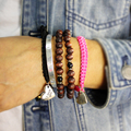 """Hand-made Vermelho/Azul/Preto Tricô Amizade Coração Letra """"eu te amo"""" Charm Bracelet Corda Verão praia Pulseira Charme Europeu"""