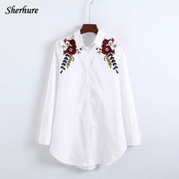 2018 Spring Women Shirts Floral Embroidery Blouse Long Sleeve Turn Down Collar Loose Women White Long