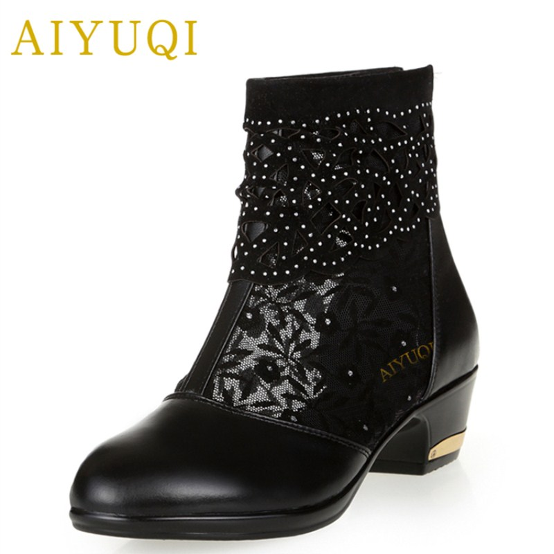 AIYUQI 2018 new genuine leather women's sandals, hollow mesh fish mouth sandals women, plus size 41#42#43# fashion shoes women