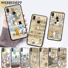 WEBBEDEPP Japanese Cat Drink Pattern Skin Silicone Case for Huawei P8 Lite 2015 2017 P9 2016 Mimi P10 P20 Pro P Smart 2019 P30 цена 2017