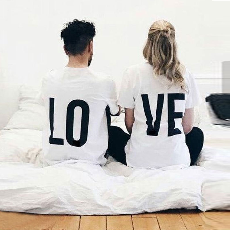 LO VE Letter Print Lover T Shirt 2018 Valentine Couple Matching Clothes Women Men Funny Cotton Comfort T-shirt Top Tee for Loved