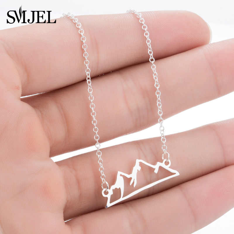 SMJEL Minimalist Snowy Mountain Necklace Hiking Outdoor Mountain Range Colorado Pendants Necklaces Jewelry Climbing Gifts