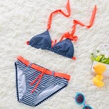 2018 New Girl Stripe Split Bikini Children Tie Bow Swimwear Swimsuit Child Bathing Suit Hildren Two Pieces Swimwear Beach Bikini