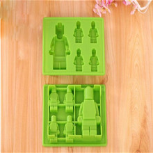 1pcs Silicone Ice Cube Tray Mold Tools Ice Cream Molds Robot Lego DIY Silicone Ice Mould(China)