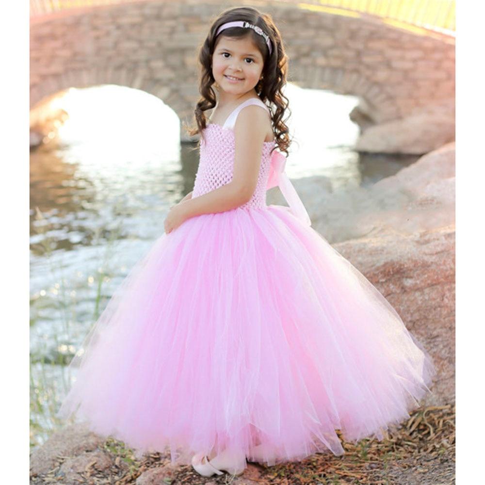 Princesa Niñas vestido rosa para Niñas partido solid casual gasa ...