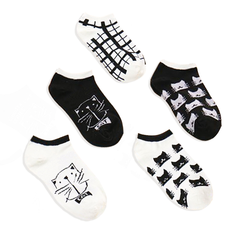 CAT summer comfortable cotton bamboo fiber girl women's   socks   ankle low female invisible color girl hosier 1pair=2pcs Fashion