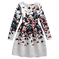Girls formal dresses Teens designer Print flower Butterfly Print long sleeve dress easter holiday girl costume Tutu Robe Fille