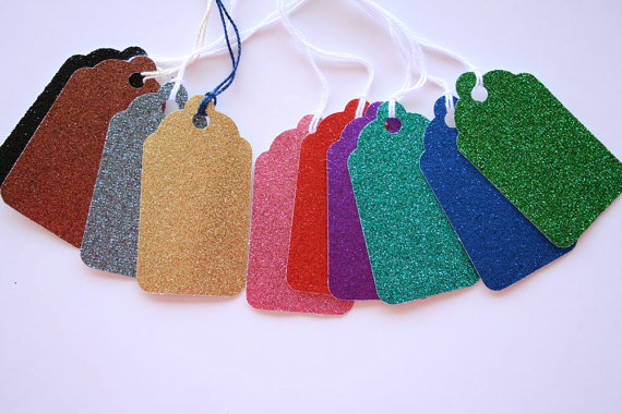Glitter colorful Favor Tags Twinkle baby shower, birthday party bridal shower, kid's party, engagement Wish Tree, Gift Tags