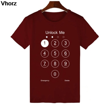 Unlock Me T-shirt Summer Design Funny T Shirts Thermal Transfer Phone Screen One Punch Cotton Cool Tshirt Men Women Lovely Tees 1