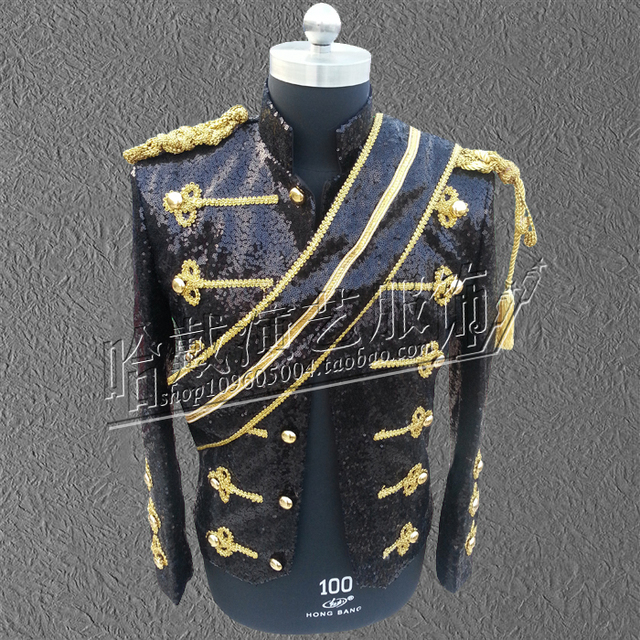 2016 new fashion men jacket men costumes Dance stage clothes military mj costume for dancer singer performance nightclub bar
