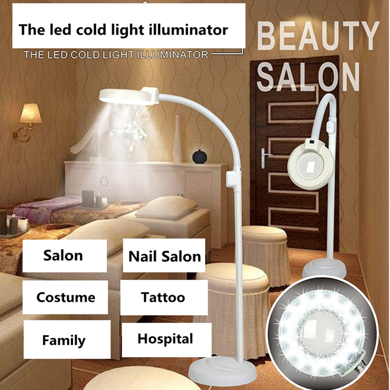 220V Rotatable Illuminated Magnifier 8x Cold Light Operation Shadowless Lamp Magnifying Glass for Beauty Salon Nail Tattoo new 1 8x 5x 10led illuminated plug in two purposes handheld desktop magnifier with light for reading working